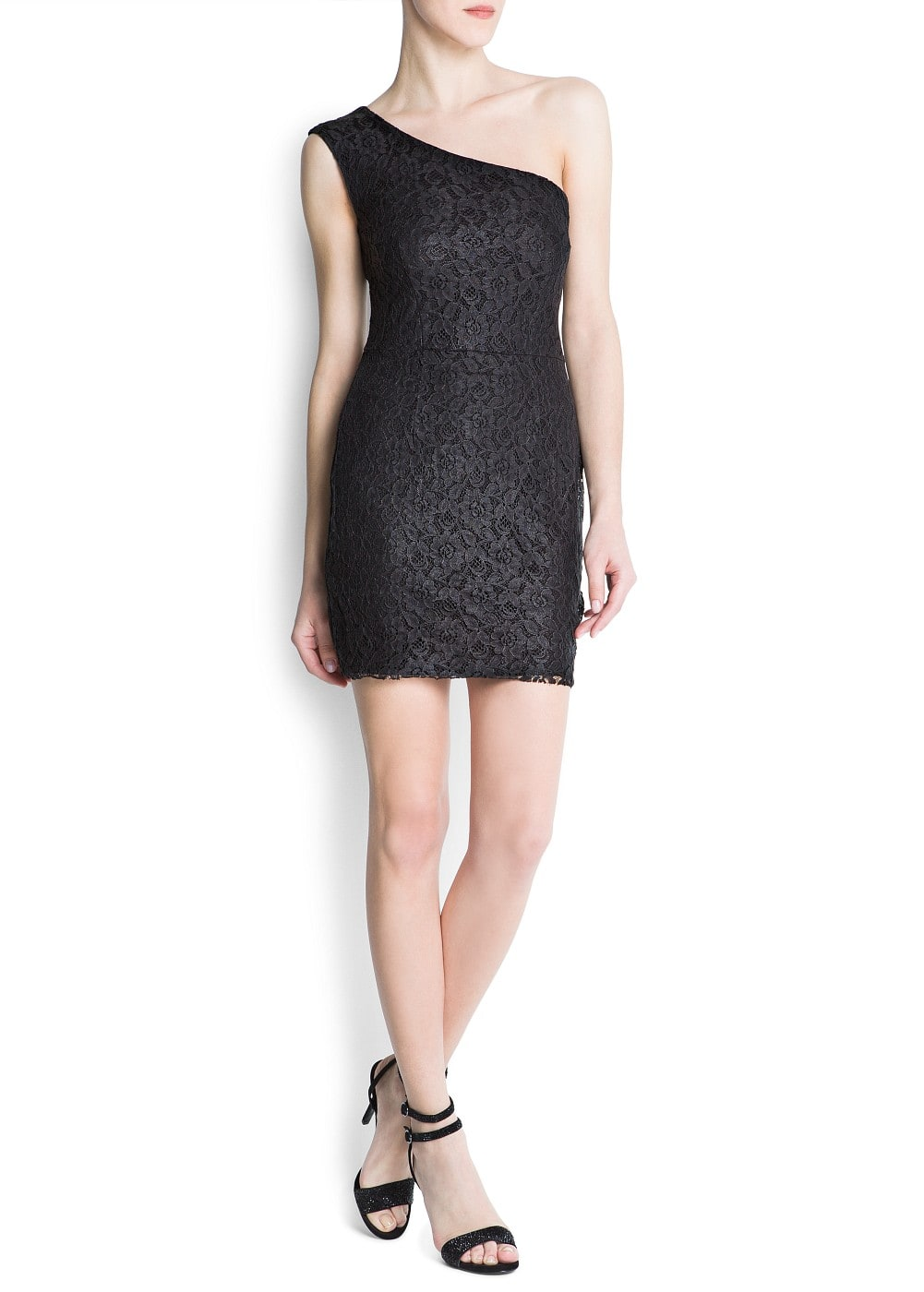 One lace shoulder dress | MANGO