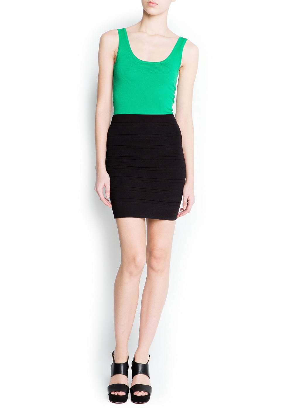 Two-tone knit dress | MANGO