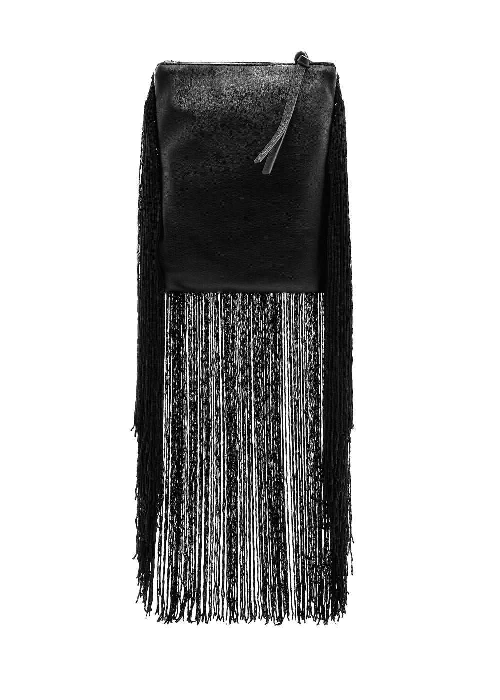 Fringed leather bag | MANGO