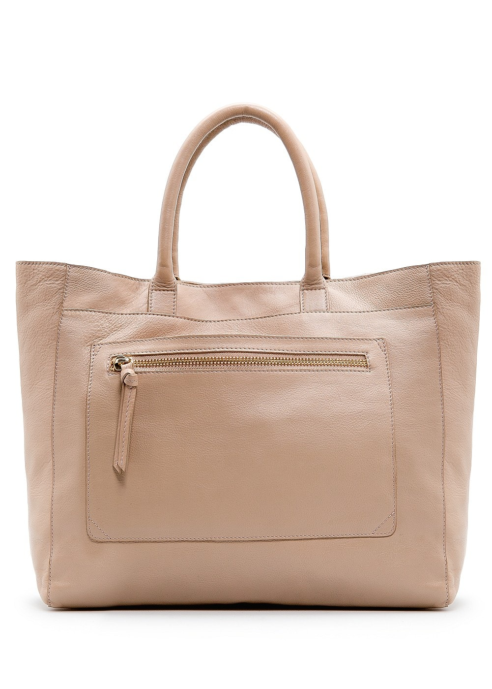 Pocket leather tote bag | MANGO