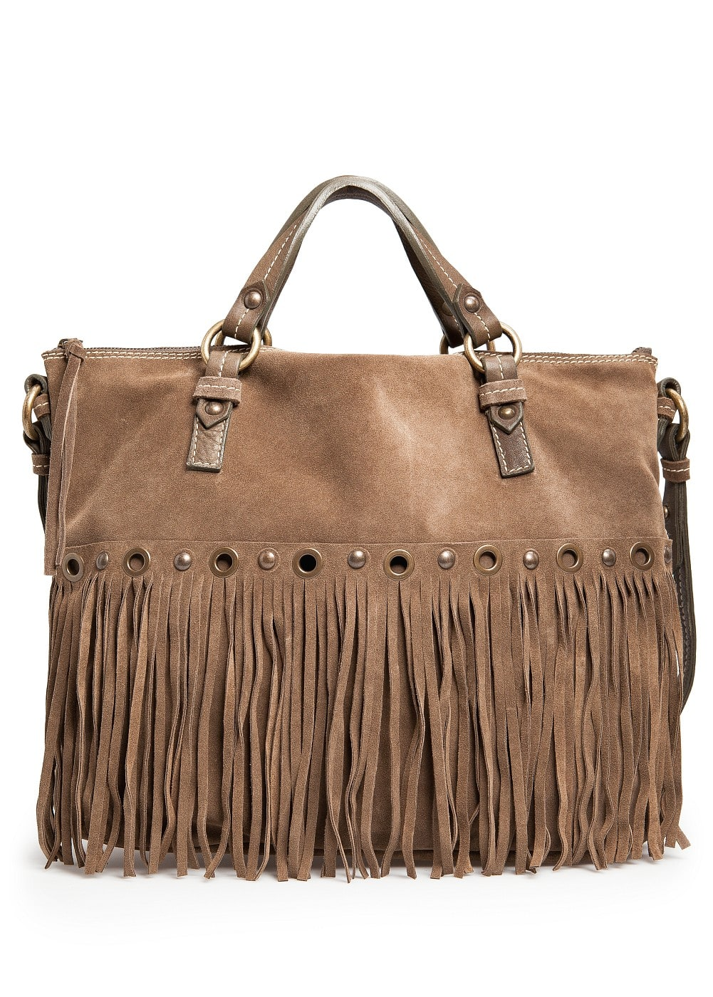 Suede fringe shopper bag | MANGO