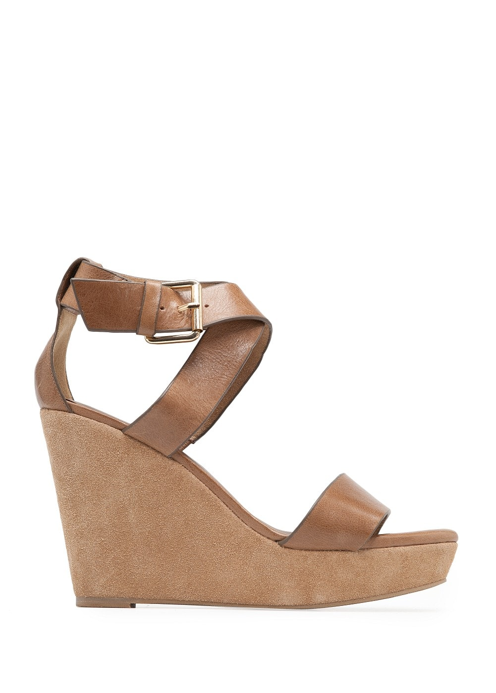 Strappy leather wedges | MANGO
