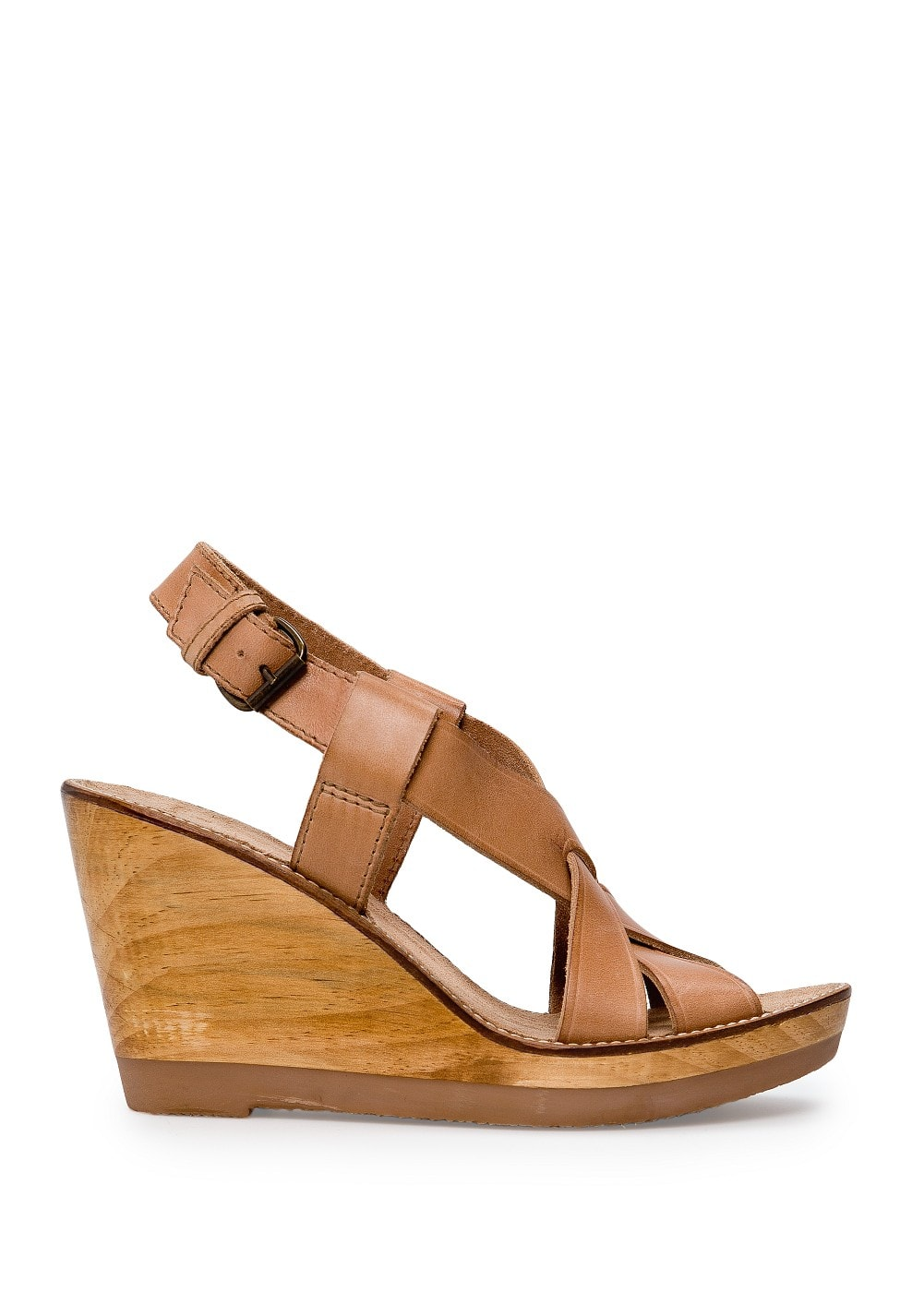 Wood wedge sandals | MANGO