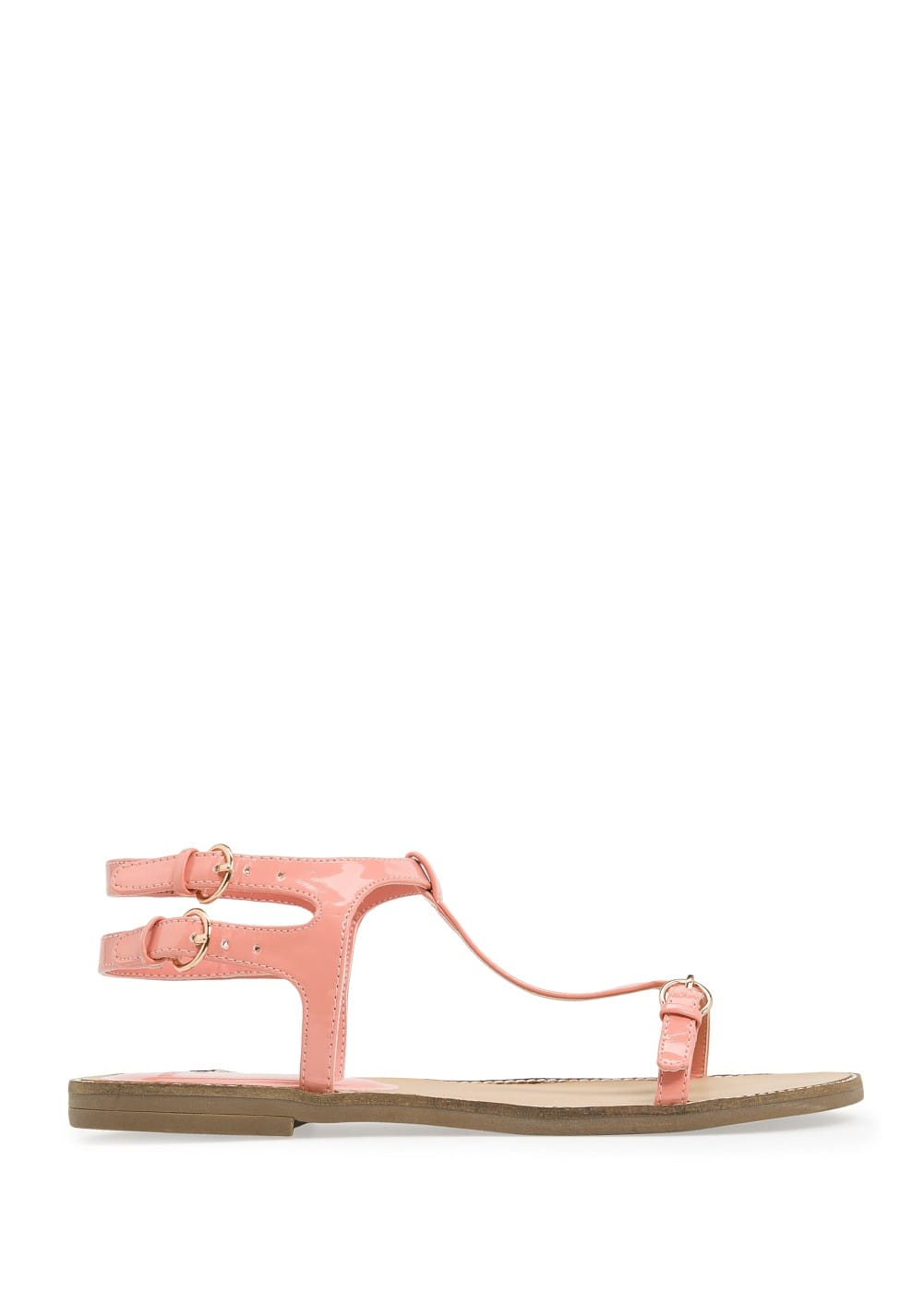 Patent strappy sandals | MANGO