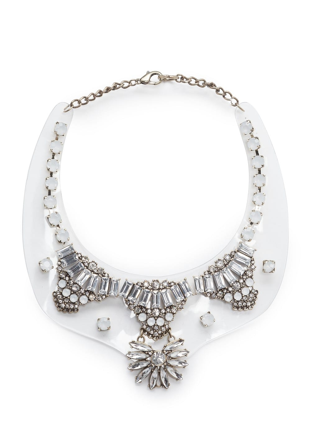 Crystal embellished transparent necklace | MANGO