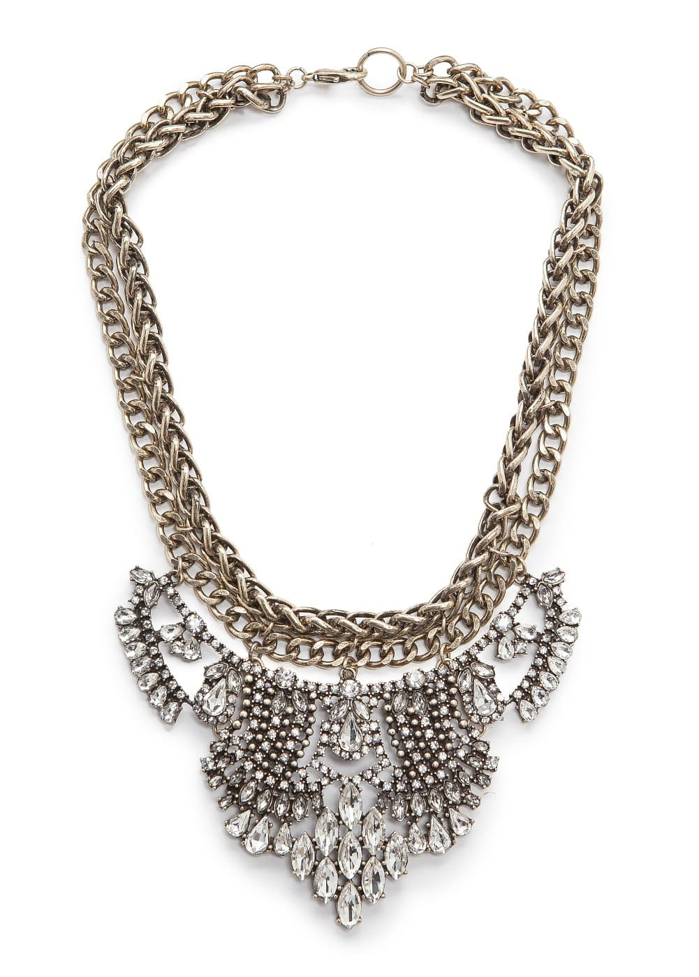 Crystals and chains necklace | MANGO