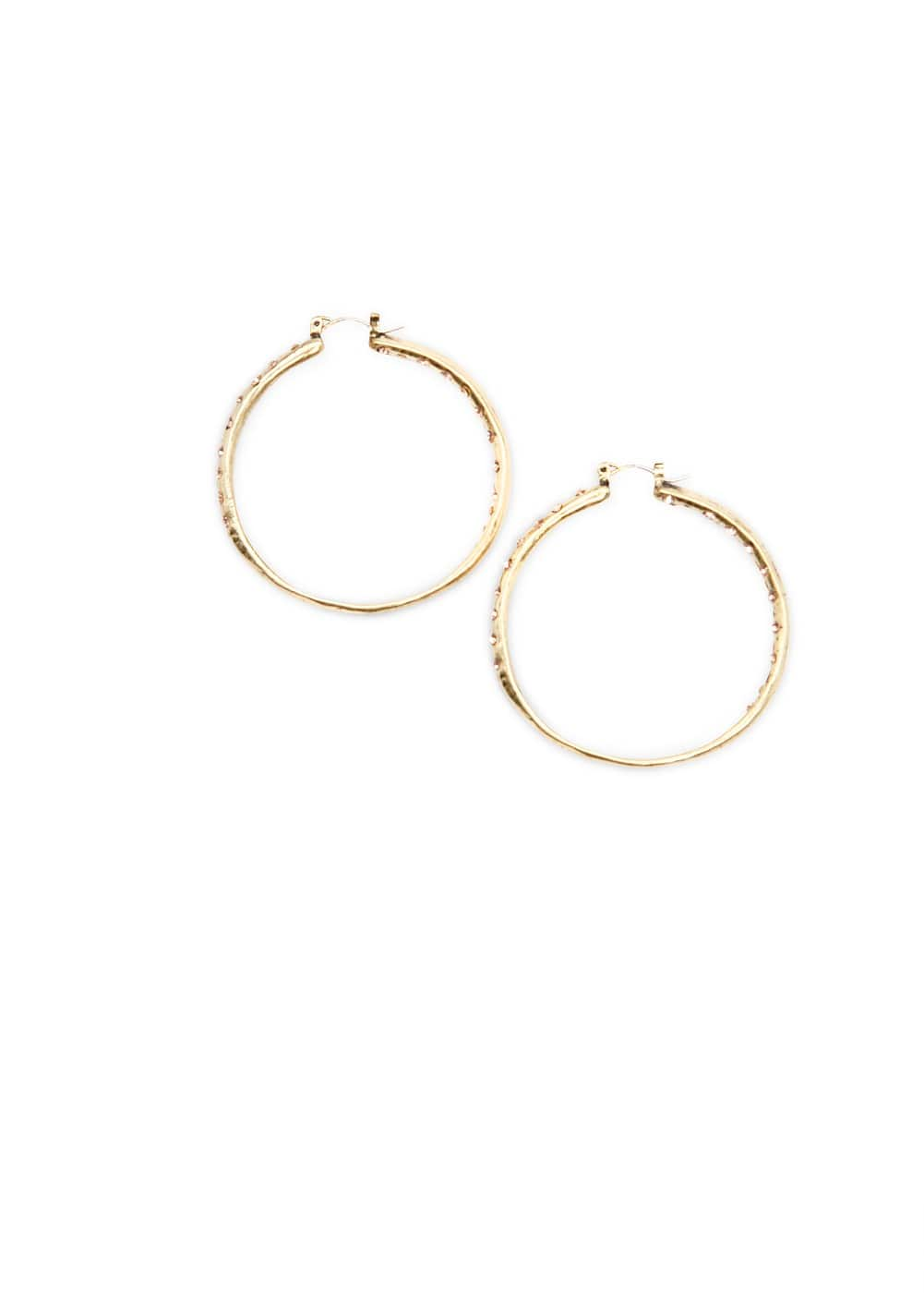 Crystal embellished hoop earrings | MANGO