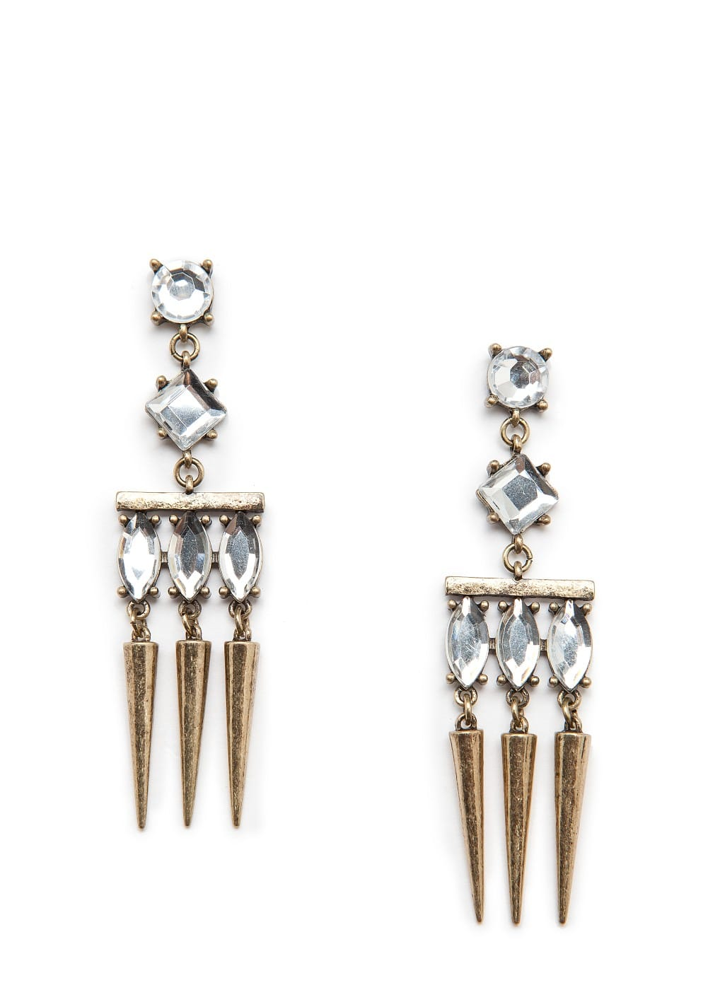 Long earrings with crystal | MANGO