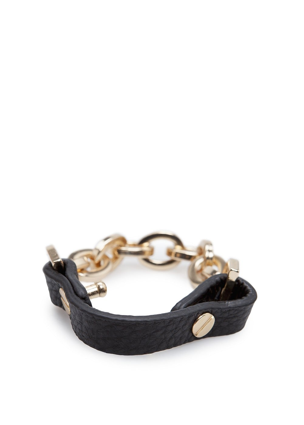 Chain and leather bracelet   MANGO