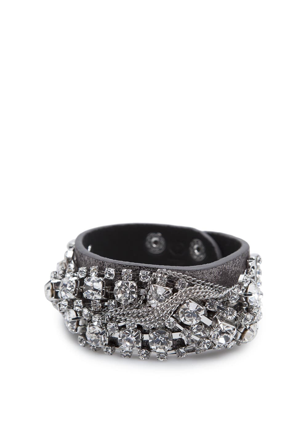 Crystal embellished leather bracelet | MANGO
