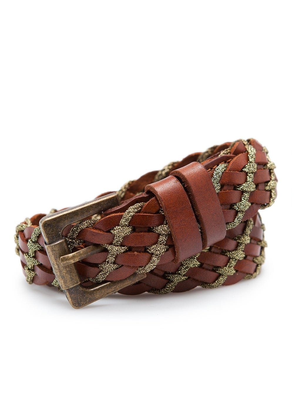 Metallic braided leather belt | MANGO