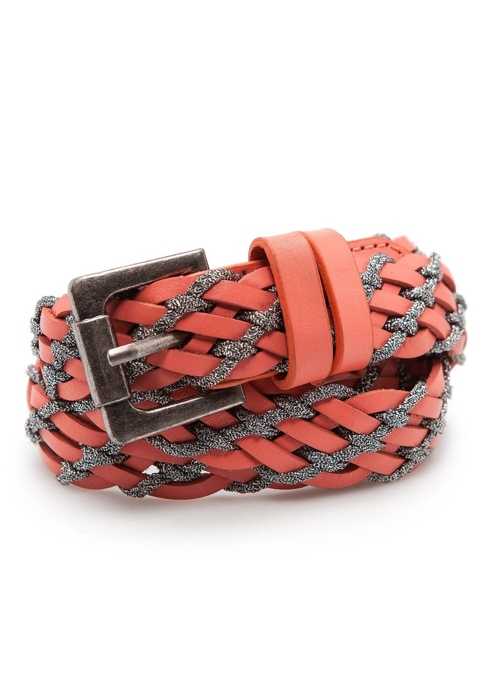 Metallic braided leather belt - Woman   MANGO São Tomé and Príncipe 87d742ac3f3