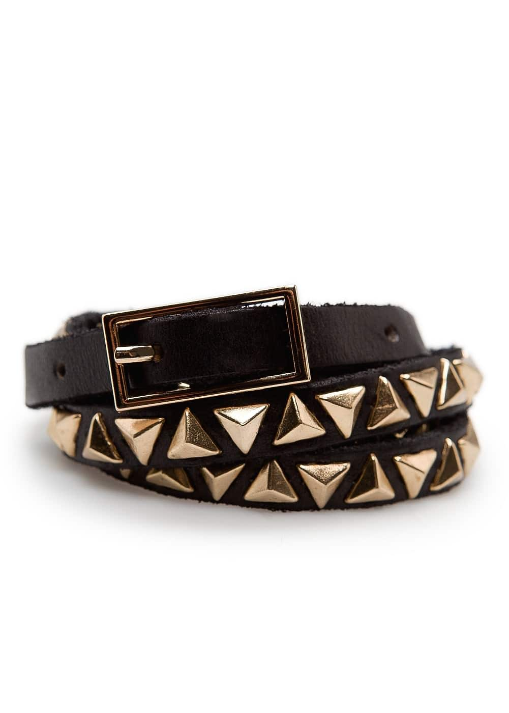 Pyramid studs leather belt | MANGO