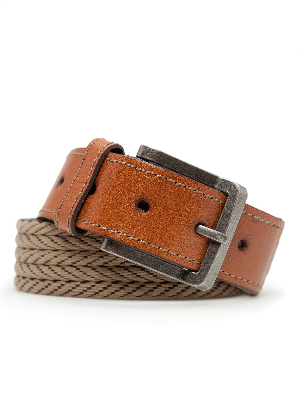 Leather trimmed woven belt | MANGO MAN