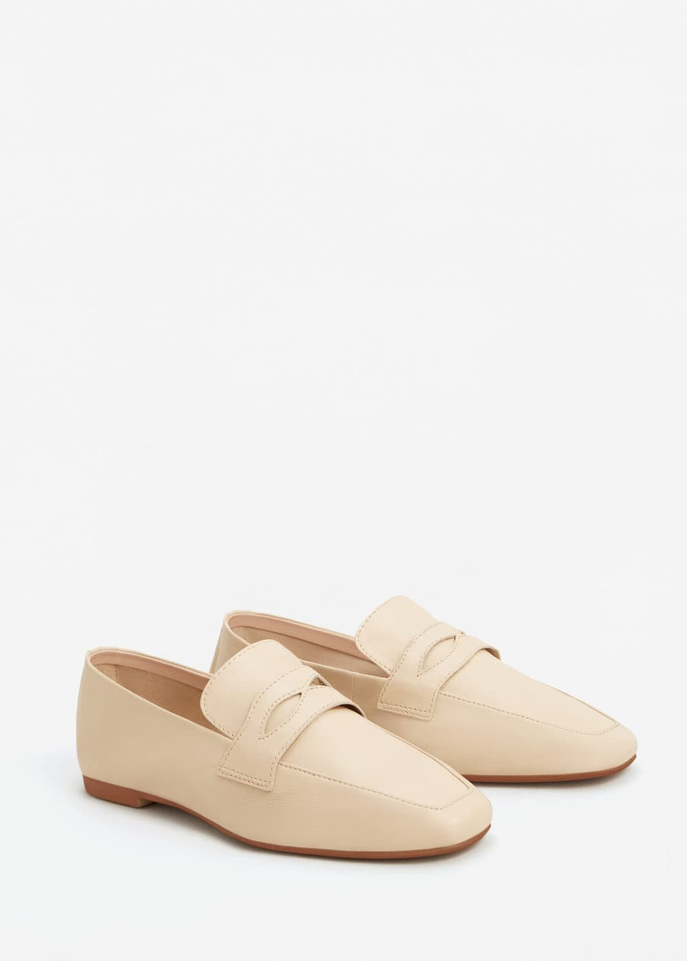 Leather penny loafers | MANGO