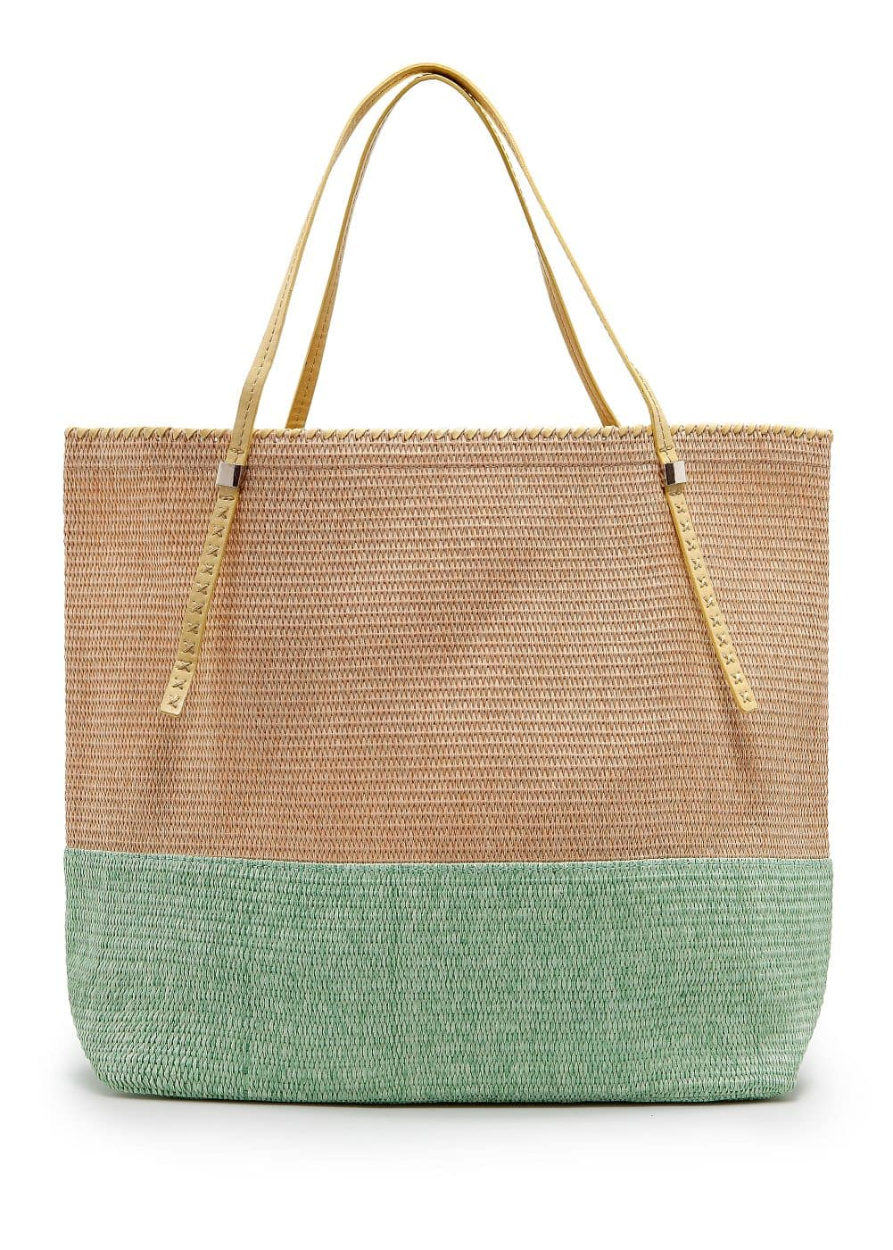 Two-tone straw tote bag | MANGO