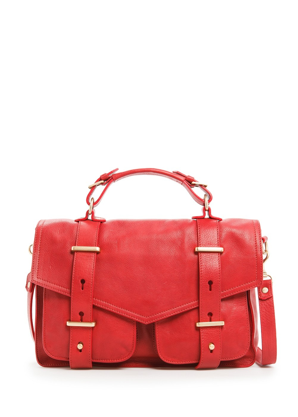 Leather satchel bag | MANGO