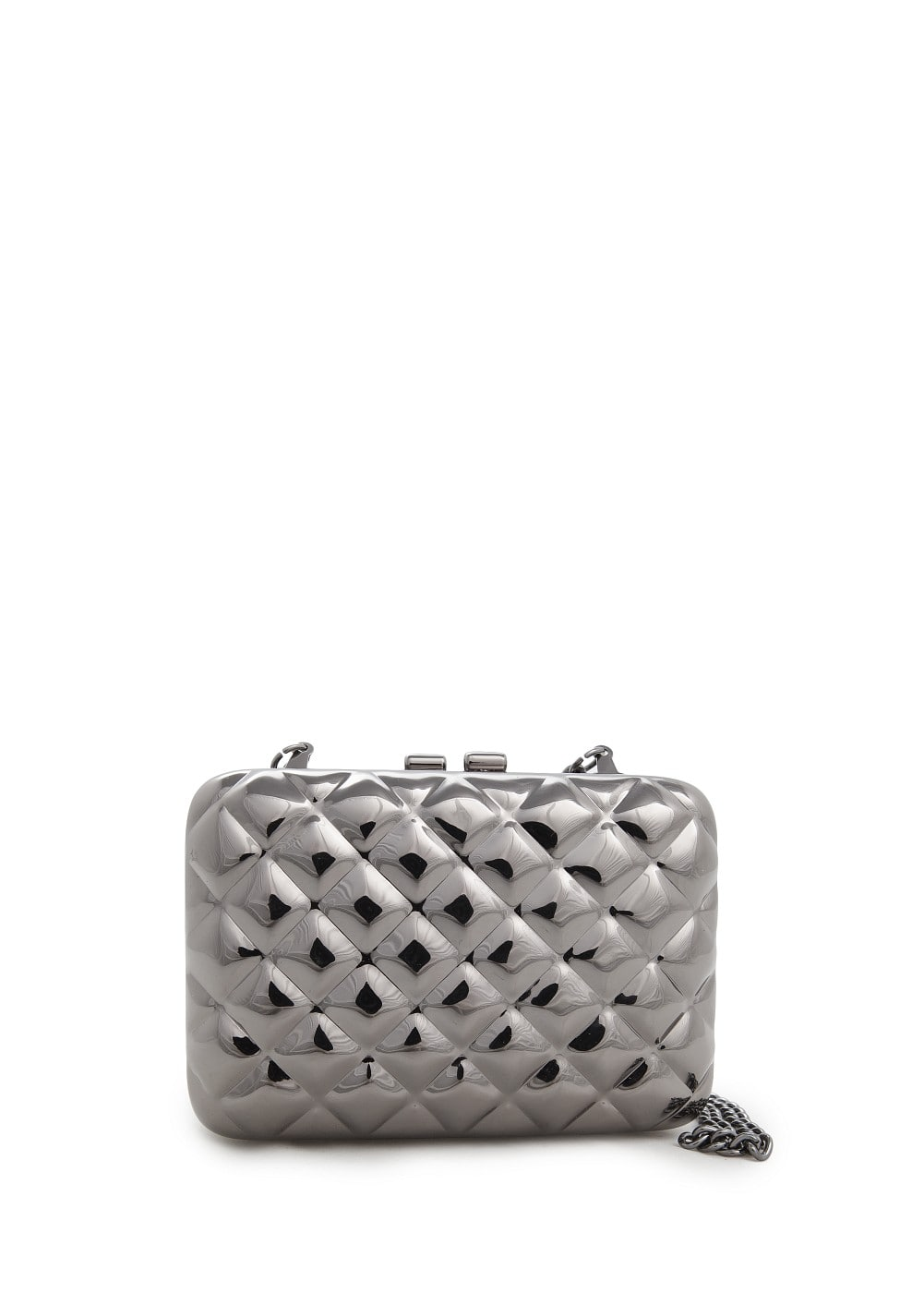Quilted metal box clutch | MANGO