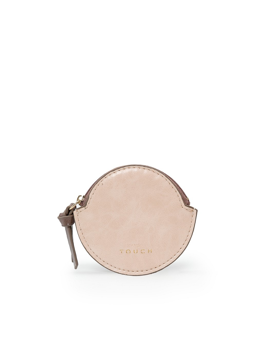 Rounded leather coin purse | MANGO