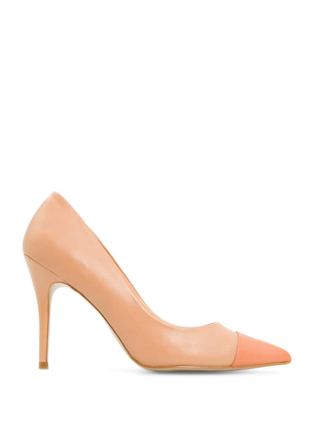 Contrast cap toe leather stilettos | MANGO