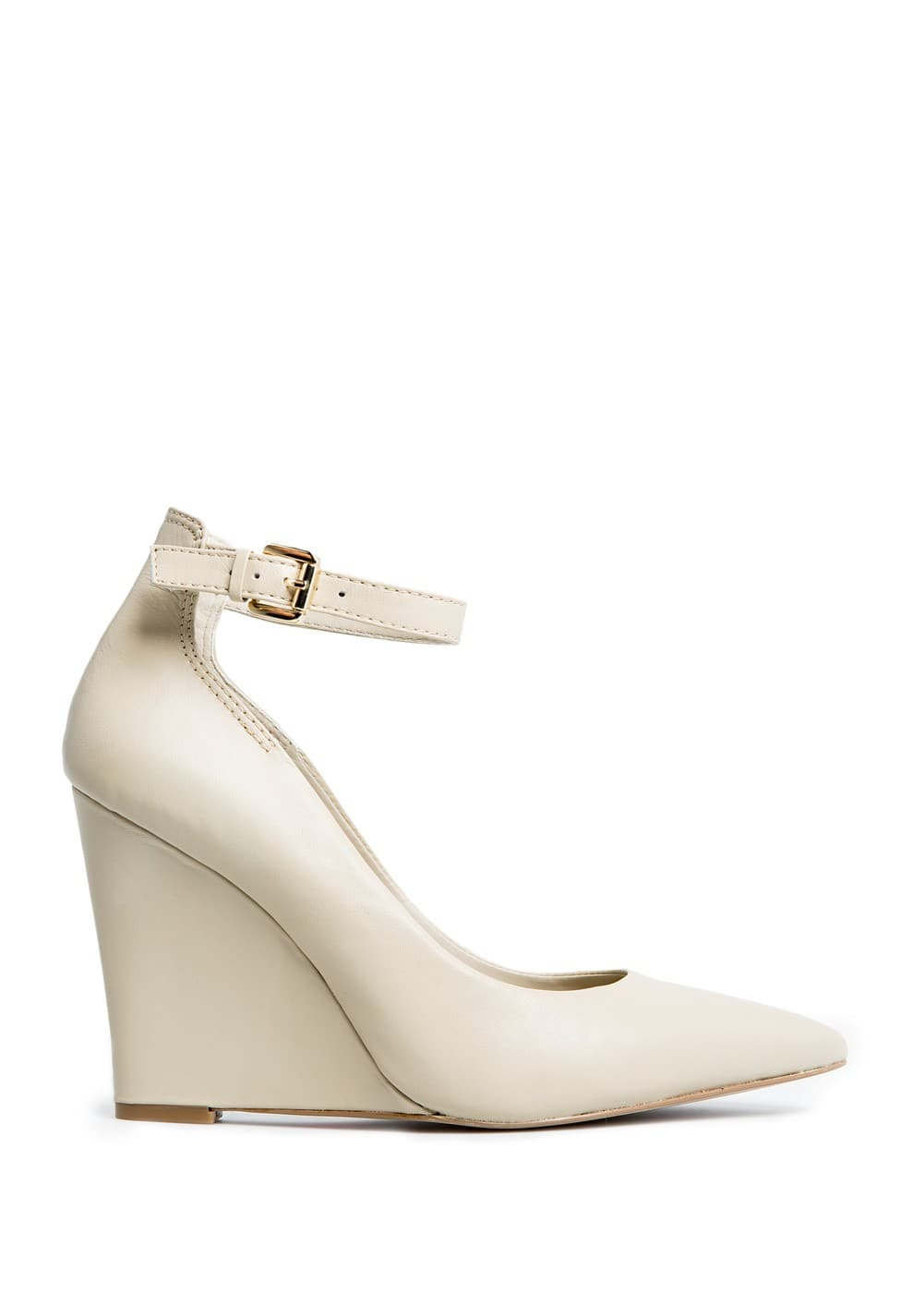 Ankle strap leather wedge shoes | MANGO