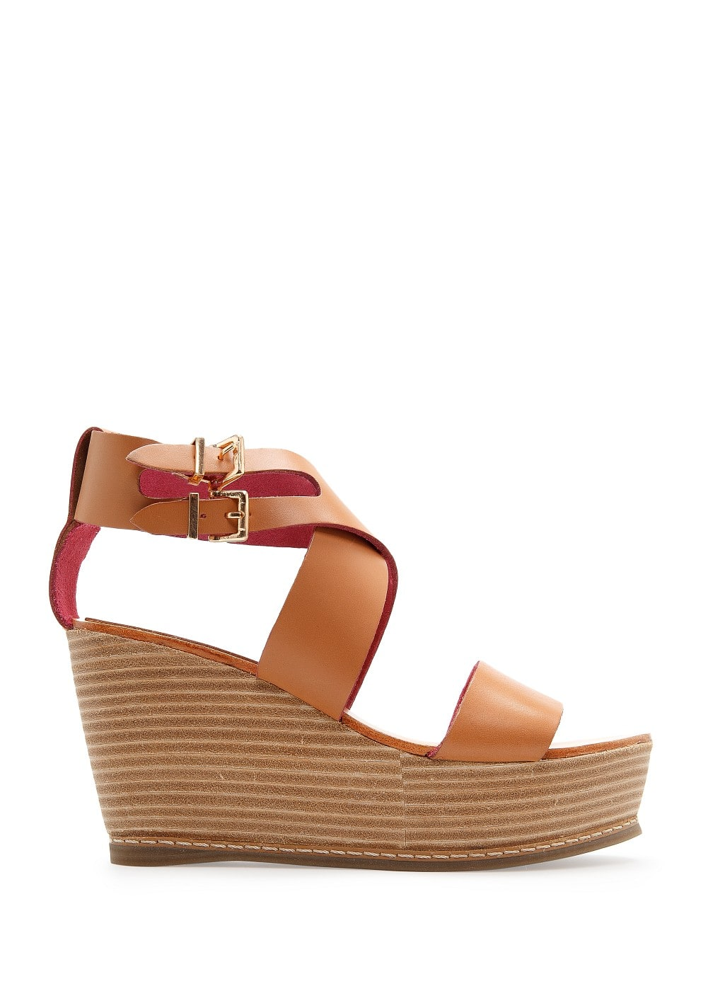 Wooden wedge sandals | MANGO