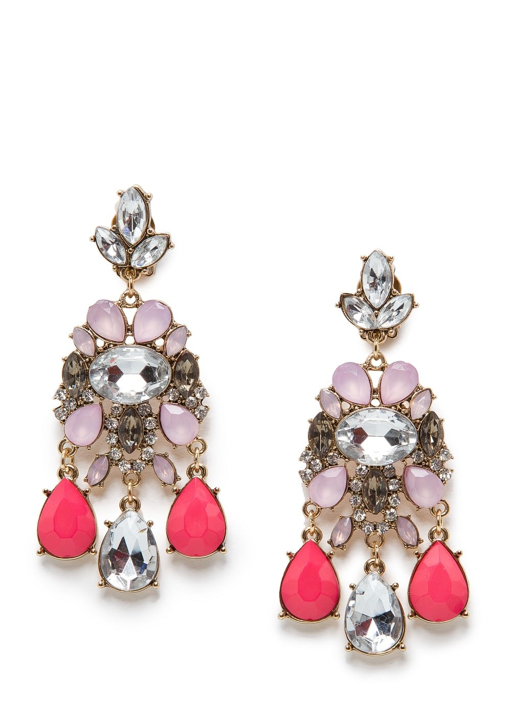 Crystal embellished chandelier earrings | MANGO