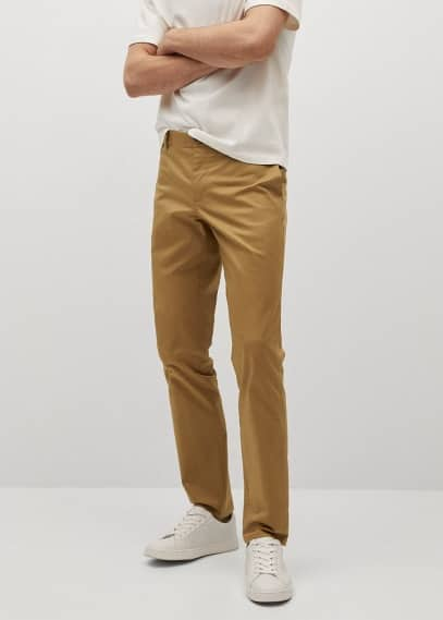 Мужские брюки Mango (Манго) Брюки-чинос slim fit из саржи - Dublin