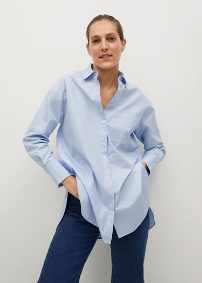 Блуза Mango (Манго) Объемная рубашка из поплина - James