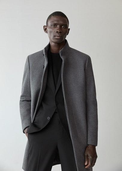 Мужские пальто Mango (Манго) Пальто с шерстью Tailored - Funnel-i