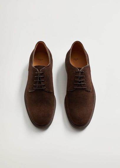 Мужские туфли Mango (Манго) Туфли блюхеры из спилка - Leo