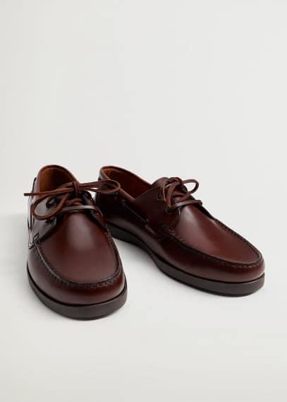 Мужские туфли Mango (Манго) Палубные туфли из кожи - Nautic