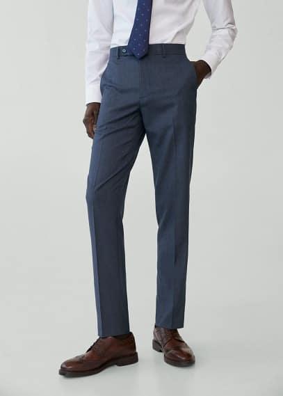 Мужские брюки Mango (Манго) Костюмные брюки slim fit с мелкой фактурной выделкой - Brasilia