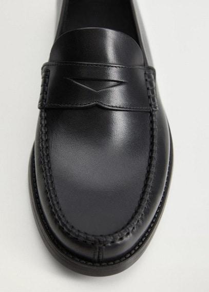 Мужские туфли Mango (Манго) Кожаные мокасины с фигурной прорезью - Classic