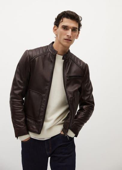 Куртка Mango (Манго) Байкерская куртка из наппы коричневого цвета - Apollo