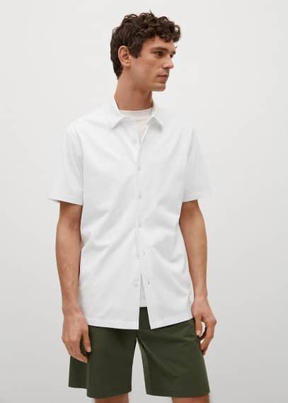 Рубашка Mango (Манго) Технологичная рубашка regular-fit из хлопка - Bonheur