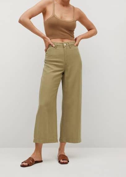 Женские широкие и расклешенные брюки Mango (Манго) 87098630: изображение 4