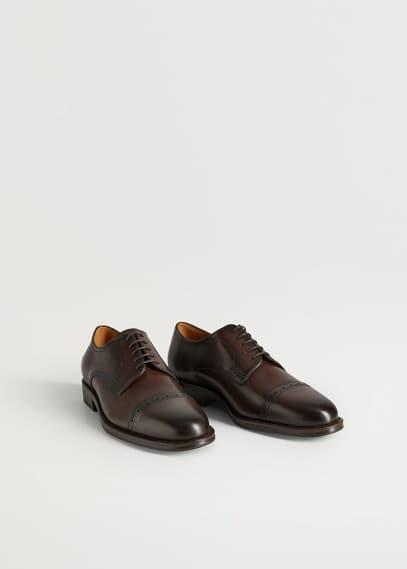Мужские туфли Mango (Манго) Кожаные туфли блюхеры с перфорацией - Madrid