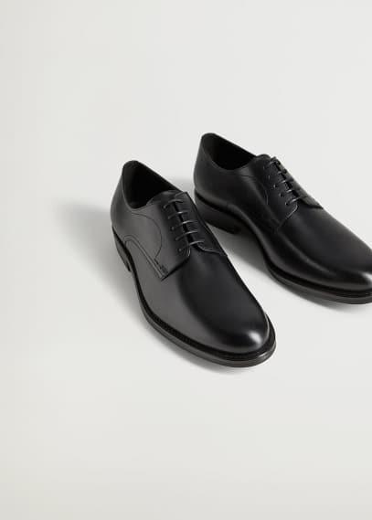 Мужские туфли Mango (Манго) Кожаные туфли блюхеры черного цвета - Madrid