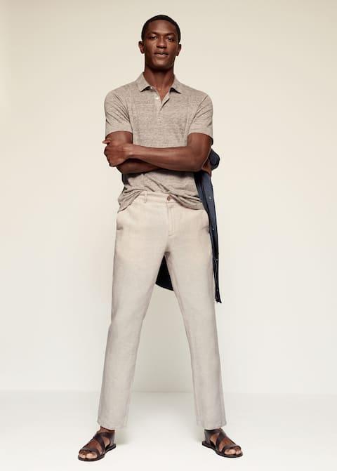 Slim fit linen trousers - General plane