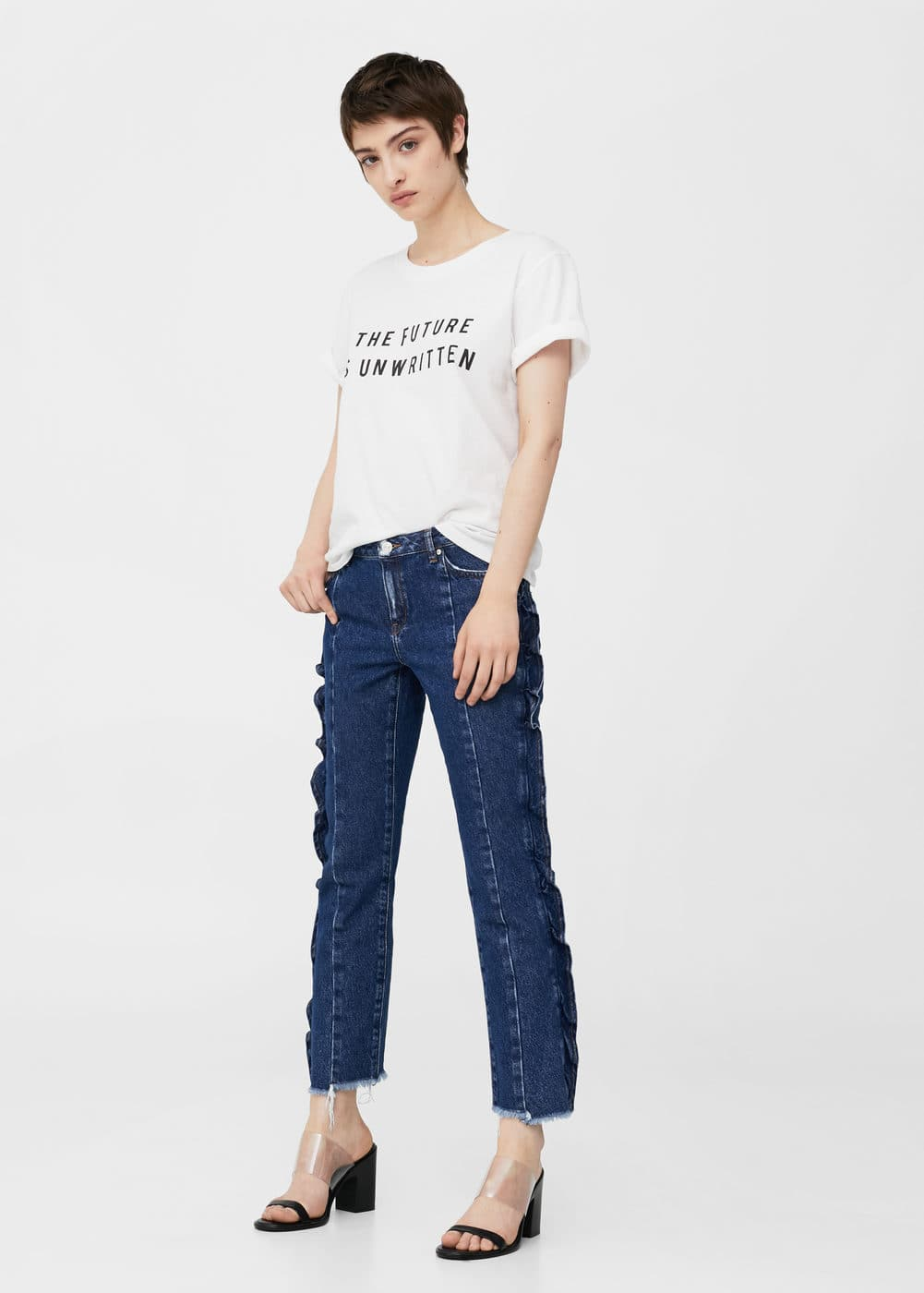 Frilled organic cotton jeans | MNG