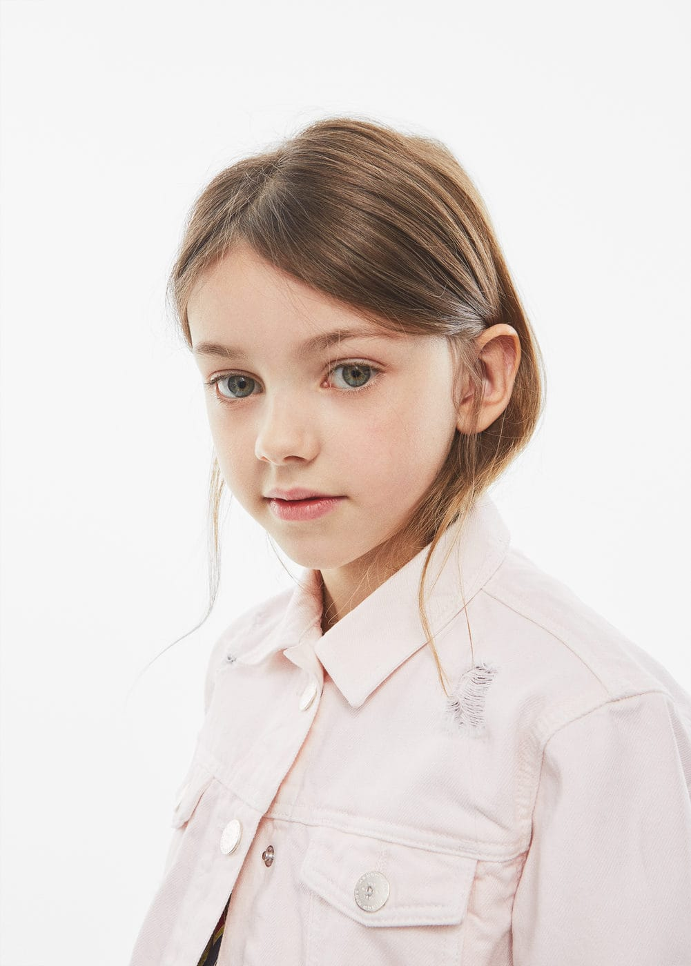 Decorative rips denim jacket | MANGO KIDS
