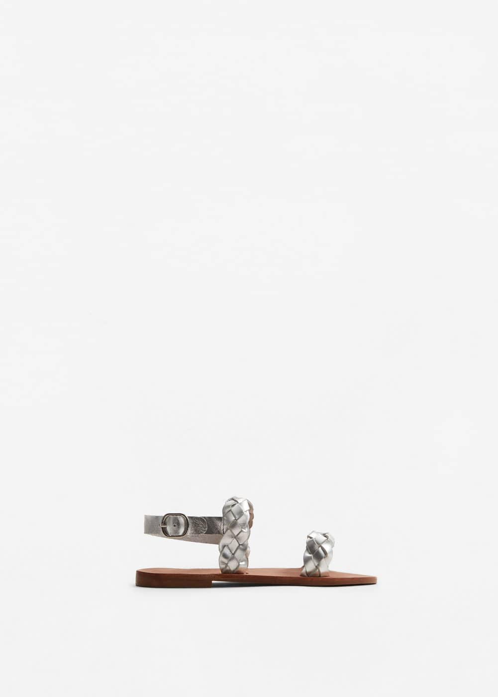 Metallic leather sandals | MANGO KIDS