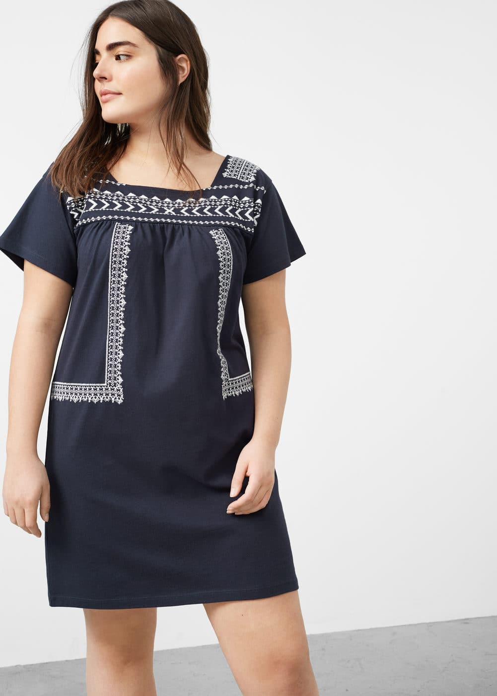 Embroidered detail dress | VIOLETA BY MNG
