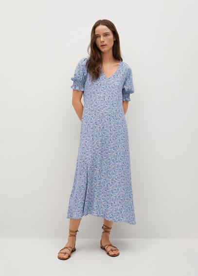 Струящееся платье с цветочным принтом - Grape
