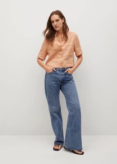 Укороченная рубашка 100% лен - Jeni