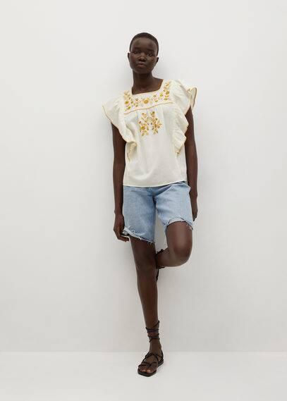 Хлопковая блузка с воланами - Mexican