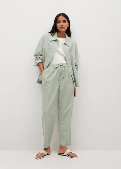 Хлопковые брюки с эластичным поясом - Spring