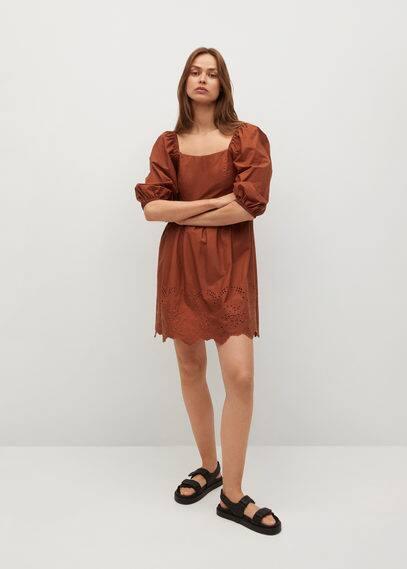 Платье из поплина со швейцарской вышивкой - Vera