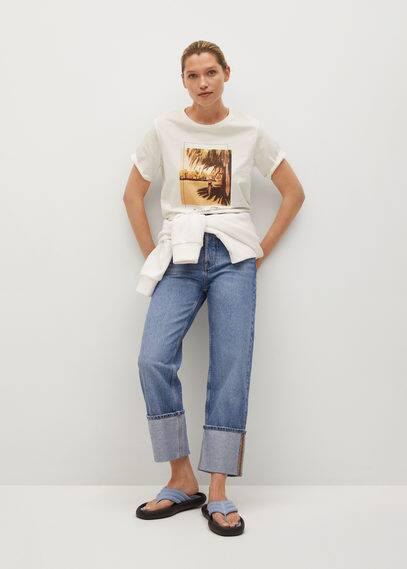 Хлопковая футболка с принтом - Pstrop
